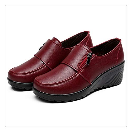 432062703c Spring Autumn Women's Fashion Pumps Shoes Woman Genuine Leather Wedge  Single Casual Shoes Mother High Heels
