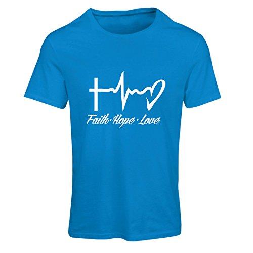 Frauen T-Shirt Glaube - Hoffnung - Liebe - 1. Korinther 13:13, christliche Zitate und Sprichwörter, religiöse Sprüche (Medium Blau Mehrfarben)