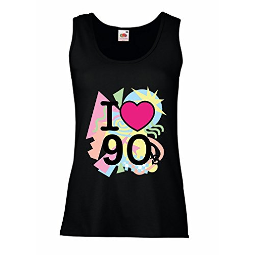Top I Love 90's! - retro style clothing (Medium Schwarz Mehrfarben) (Besten Moderne Halloween-songs)