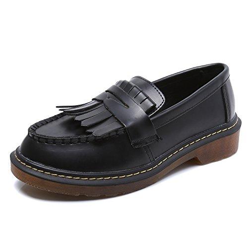 Smilun Mocassini da donna, da barca con frangia, scarpe basse classiche Black