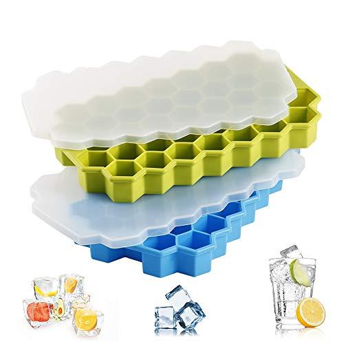 Stanbow 2 Stück Eiswürfelformer, Silikon Eiswürfelbox mit Deckel aus Kunststoff, Robuster Eiswürfelbehälter Zum Chillen Whiskey, Cocktail, Getränke, Fda Zertifiziert