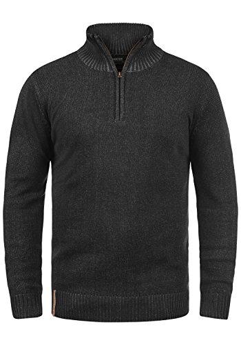 Indicode Nathen Herren Strickpullover Troyer Feinstrick Pullover Mit Stehkragen und Reißverschluss, Größe:L, Farbe:Black (999)