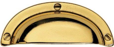 Poignée de porte ou tiroir de meuble en laiton poli entraxe 64mm, COQUILLE