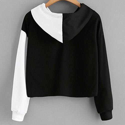 Bonjouree Pull Capuche Femme Sweatshirt Court Ados Fille Hauts Top Blouse Manche Longue Noir