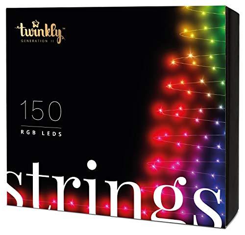 Twinkly Smart Lichterkette LED-Weihnachtsbeleuchtung - App-Gesteuerte Büschellichter mit 150 Mehrfarbigen RGB LED Lichtern - IoT-Fähige Beleuchtung - Erstellen oder Herunterladen von Lichtanzeigen