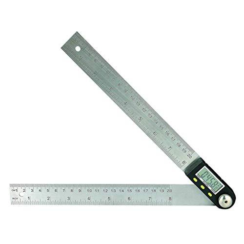 GuDoQi Medidor de ángulos Digital Transportador de Angulos Digital 200 mm 8 pulgadas con pantalla LCD Buscador de ángulos Regla del Calibrador Transportador Herramientas de Medida