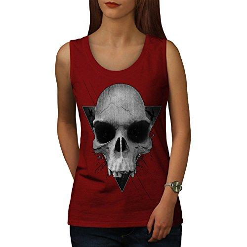 Dreieck Rock Metall Schädel Teufel Augen Damen S-2XL Muskelshirt | Wellcoda Rot