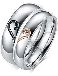 KNSAM - Anillos de boda de acero inoxidable con corazón, anillos de compromiso para mujer