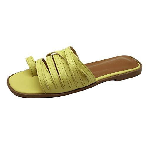 CUTUDE Frauen Strand Freizeitschuhe Flache Fersenriemen Hausschuhe Römische Schuhe Flip Flops Übergröße Sommerschuhe Strandschuhe Pantoletten (Gelb, ()