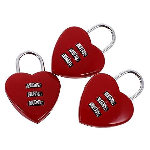 Gazechimp Lot 3pcs Cadenas à Code Combinaison en Alliage Forme de Coeur Rouge Style Insolite pour Bagage Valise Voyage Casier Boîte à Bijoux Cadeau Enfants