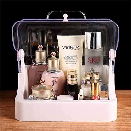 JKYQ Makeup Organizer Cosmetici Custodia cosmetica profumeria espositore Stand Box Camera da Letto Bagno e Soggiorno Antipolvere Impermeabile