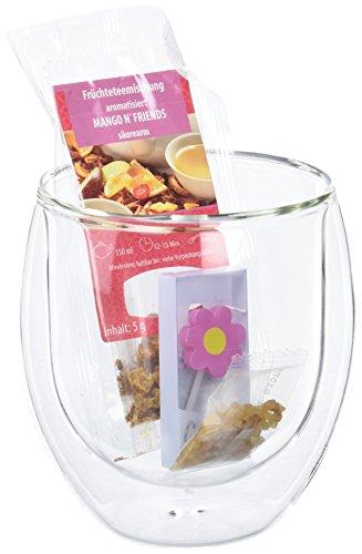 Levivo Doppelwandiges 410 ml Thermoglas mit Früchteteemischung, Blumen-Kerze und Teezucker im Organza-Geschenkbeutel -