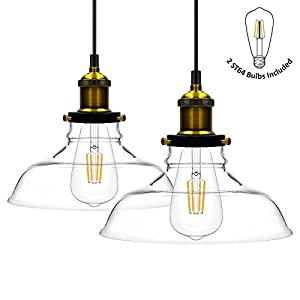Haodude Glass Pendant Light, Vintage Industrial Hanging Light, Loft Style Chandelier, Glass Lamp Shade Light Fixture, Pack of 2 by Haodude