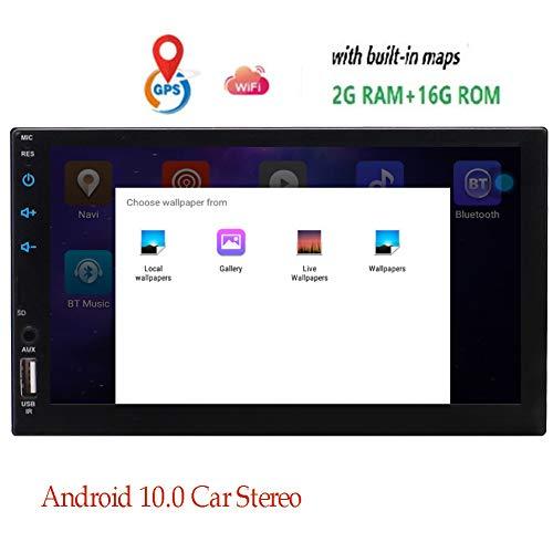 Double 2 din Android 10.0 7-Zoll-Autoradio GPS-Navigation Auto Autoradio in Dash Bluetooth-System WiFi 2GB RAM 32 GB ROM FM/AM MP3 Video-Bildschirm Mirroring Head Unit kapazitiven Touch Screen