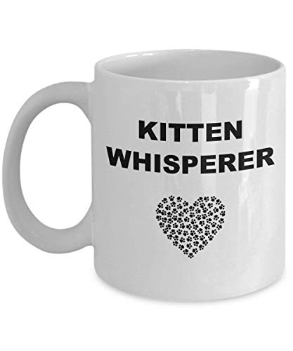 Cute Kitten Whisperer Coffee Mug Paw Print I Love Kitty Cat Ceramic Gift for Mother's Day and Birthday -