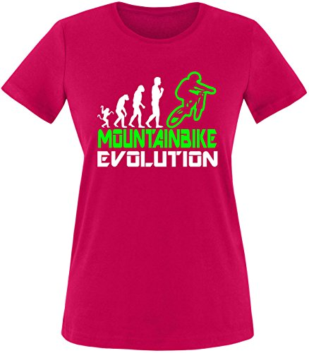 EZYshirt® Mountainbike Evolution Damen Rundhals T-Shirt Sorbet/Weiss/Neongr