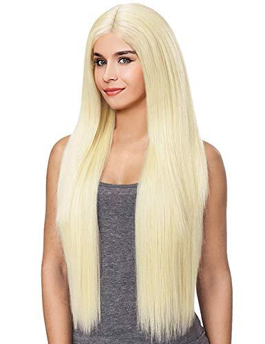 Kalyss 26'' Seidige Gerade Yaky Synthetische Lace Perücken Gemischte 613 Platin Blonde Lace Front Perücken für Frauen Natural Looking Daily Ersatz Perücke