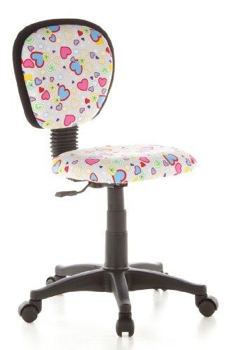 hjh OFFICE 670170 Kinderschreibtischstuhl KIDDY TOP Stoff Herzen&Blumen Kinder-Drehstuhl ergonomisch, mitwachsend -