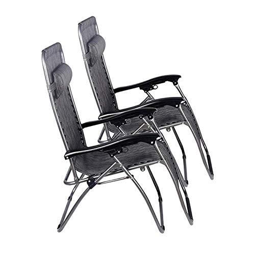 LOUNGER Schwerelosigkeit Patio Stühle Faltbare Liegestuhl Garten Liegestuhl Im Freien Strand Rasen Camping Tragbaren Stuhl Mit Nackenkissen Unterstützung 200 kg 2 STÜCKE Multifunktions-Liegestuhl -