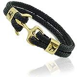 ETAVI® Anker Armband Schwarz Gold 21,5cm mit Geschenk Box Wickelarmband für Männer und Jungen Armschmuck