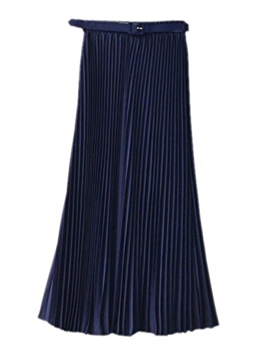 orean Chiffon Boho Plissee Retro Midi Rock-elastischen Bund Tanz-Kleid Faltenrock Navy One Size (Halloween-songs Rock And Roll)