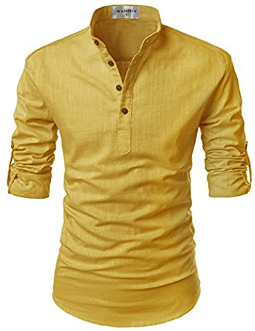 Nearkin - Chemise casual - Moderne/ajusté - Solid - Col Mao - Manches Longues - Homme - jaune - Large