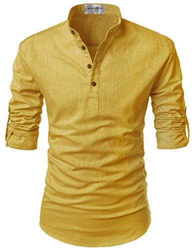 Nearkin (NKNKN350) Geringes Gewicht Roll Up Mandarin Henley Nacken Leinen T-Shirts MUSTARD EU S(Tag size S)