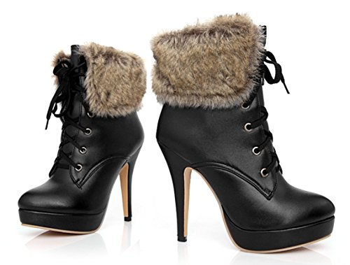 YE Plateau High Heel Stiletto Schnürstiefeletten mit Fell Elegant Fashion 12 cm Absatz Warm Gefütterte Herbst Winter Damenstiefel Schwarz