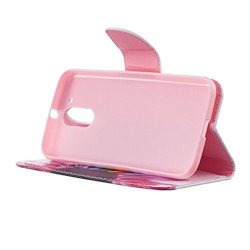 Für Apple iPhone 7,Sunrive Magnetisch Schaltfläche Ledertasche Schutzhülle Etui Hülle mit Standfunktion Cover Tasche Case Handyhülle Kartenfächer Kreditkarte Taschen Schalen Handy Tasche Flip Wallet S A bunte Blume
