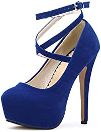 OCHENTA- Vestido de Mujer con Correa de Tobillo y Plataforma, Color Azul, Talla 43 EU