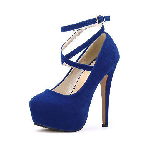 b111e46f662 OCHENTA Women s Ankle Strap Platform Pump Stiletto Heel Party Dress Shoes   10 Blue EU Size