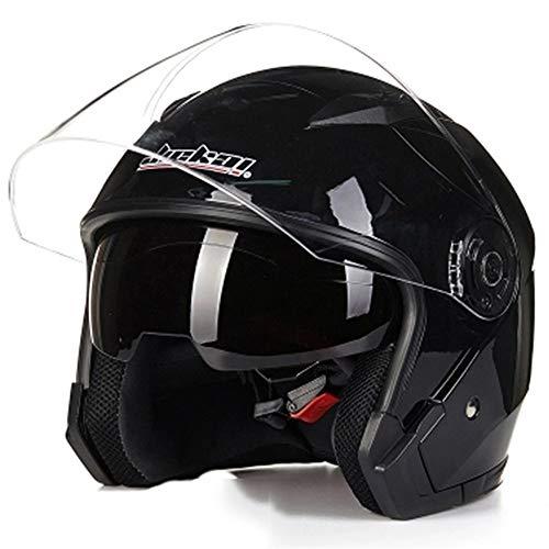 MRDEER Casque Intégral pour Casque De Moto Électrique,Casque Intégral avec Visière Et Pare-Soleil,4 Tailles,Black,XL