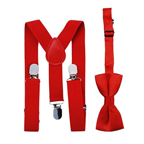 Verstellbare und elastische mit Metall Clips Polyester Kinder Design Hosenträger und Bowtie Fliege Set passende Krawatten Outfits (Tie Rot Hosenträger Red Bow)