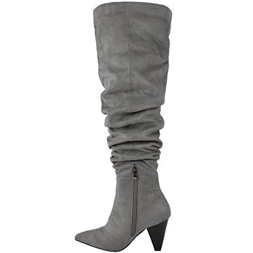 NUOVO da donna sopra al ginocchio stivali aderenti, ALTI Ruche a Punta SCARPE CASUAL taglia Grigio Finto Scamosciato