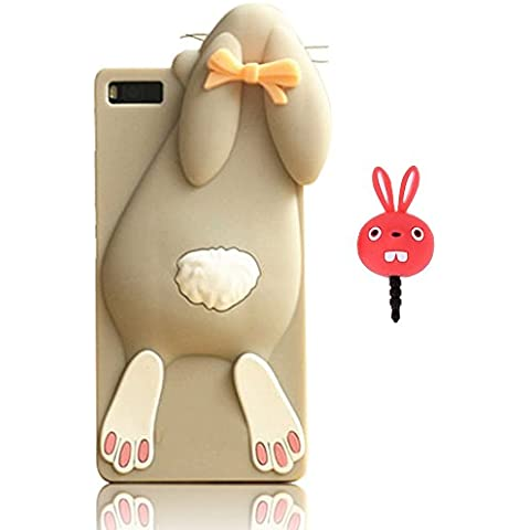 Vandot Fashion Case 3D Lovely Cartoon Buck Teeth Bunny Rabbit Rubber Series Soft Silicone Back Case Cover para Huawei P8 Lite Funda, High quality smooth silicone Series back funda carcasa case caja del teléfono Cartoon Accessories Set Funny Buck Tooth Phone Case gris+ Red Rabbit tapón antipolvo