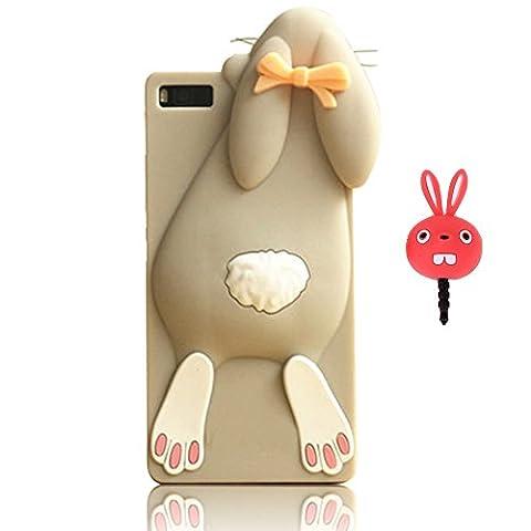 Vandot 2et1 Mode Bande dessinée 3D Rabbit Lapin Gris Buck Dents de Silicone Souple Coque Case Cover Etui Housse Pour Huawei P8 Lite TPU Protection Hull + Red Rabbit Bouchon Anti-poussière Plug Anti-Dust Cap Plug - Lapin-Grey