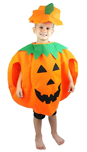 Petitebelle Orange Pumpkin Halloween Costume Set for Children 3-7year (Orange)