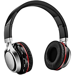 Aita BT816 Auriculares Bluetooth de Diadema Plegable, Cascos Estéreo con luz LED, radioFM, ranura para tarjeta de memoria micro SD, Micrófono incorporado para uso como manos libres compatible con iPhone, android, PC, Mac, TV y cualquier dispositivo Bluetooth (Negro)