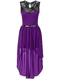 Neue Frauen Plus Size Ungleiche Chiffon Dip Rand-Spitze Belted Prom Kleid 36-54