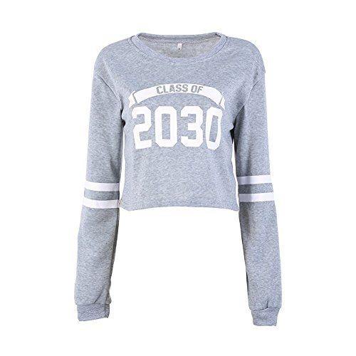 Yalatan Autumn Women's Hoodies Striped Long Sleeve O-Neck Casual Sweater Pullover Grey