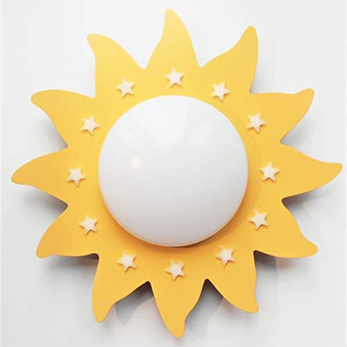 Funnylight LED Kinder Lampe Deckenleuchte Du Soleil Gelb mit glow in the dark sternen- ein Fröhliche Sonne für das Baby und Kinderzimmer