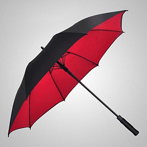Ssby lungo in fibra di vetro, uomini e donne oversize doppio creativo automatico doppio strato antivento ombrello da golf, rosso