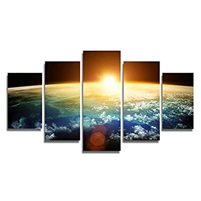 HtpAr 5 Panel Modern Sunrise Space Universe Picture Painting Cuadros Wall Decor Canvas Art Home Decor For Living Room(Unframed) Unframed htp37 50 inch x30 inch - inexpensive UK light shop.