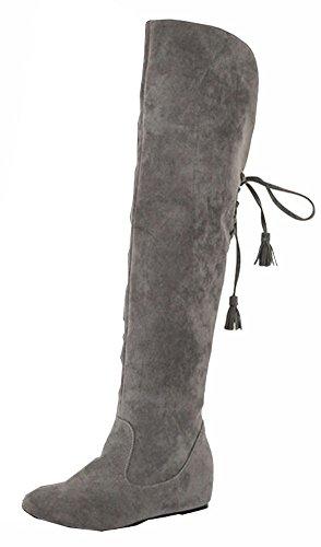 Big Size 34.5-41.5 Schnee lädt die warme Winter-Pelz-flache Schuhe Mode Frauen Stiefel Overknee-Stiefel Grau