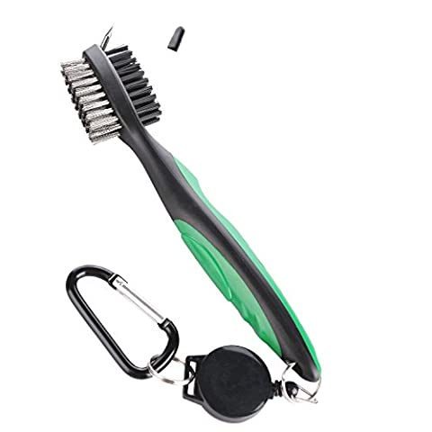 Golf Brush / Golf Club Cleaning Brush, Golf Groove Cleaner with Spike Cleaning, Retractable Dual-Bristle and Aluminum Carabiner/ Lightweight, Ergonomic Design, Easily Attaches to Golf Bag or Golf Car /Useful Gift for Golfer Halter (Red & Green)