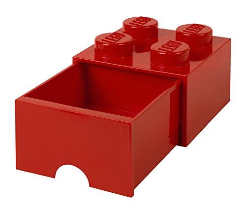 Lego  Storage Brick 4 mit Schubladen, Plastik, Rot, 25 x 25,2 x  cm, 1 Einheiten (Schublade-storage-office)