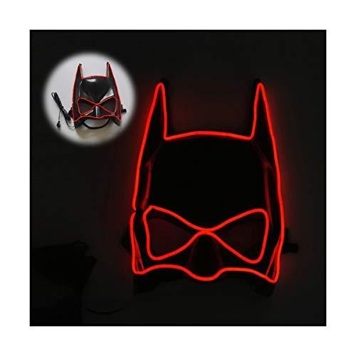 YOIO LED-Maske EL Kaltlichtstrahl Linie Fledermaus Halbe Gesichtsmaske, rot