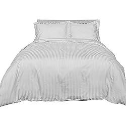 Homescapes 2 teilige Damast Bettwäsche 155 x 220 cm weiß 100% ägyptische Baumwolle Fadendichte 330