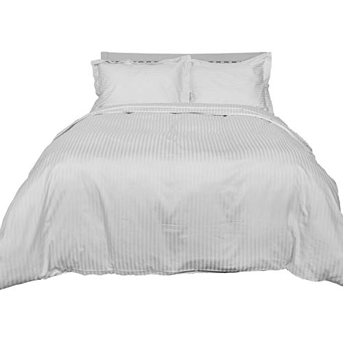 Homescapes 2-teiliges Bettwäsche-Set, Bettbezug 155 x 200 cm mit Kissenbezug 80 x 80 cm, 100% ägyptische Baumwolle mit Satin-Streifen, Fadendichte 330, weiß - 100% Ägyptische Baumwolle Streifen