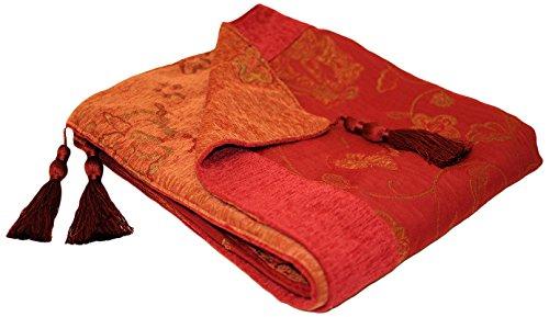 Paoletti - Jeté de lit Grace en jacquard - glands - motif floral - bordeaux - 150 x 180 cm